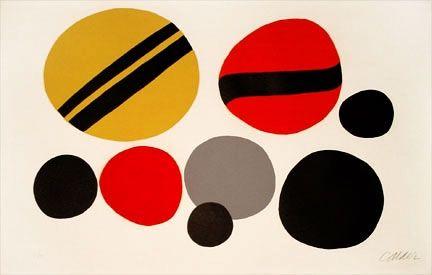 Lithograph Calder - Chevrons Noir Sur Rouge et Jaune (1960)