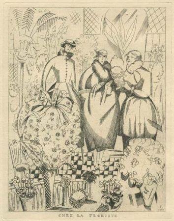 Engraving Laboureur - Chez la floriste (fleuriste)