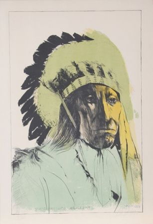 Lithograph Baskin - Chief American Horse - Oglalla Sioux