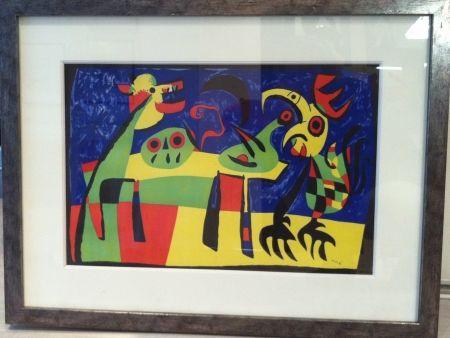 Lithograph Miró -  Chien aboyant à la lune
