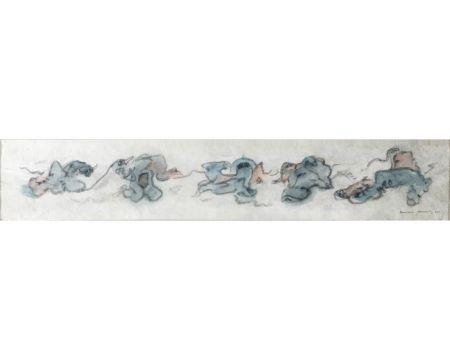 No Technical Tanning - CHIENS FOUS. Aquarelle, crayon gras sur papier Japon nacré