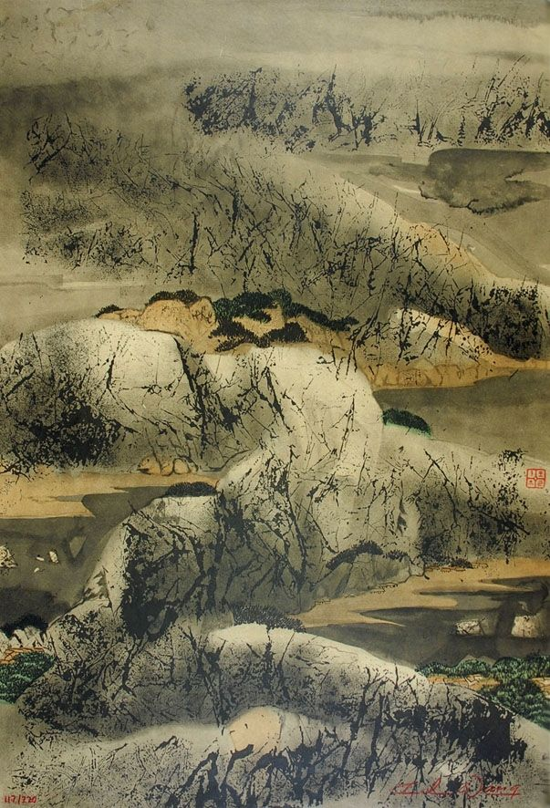 Lithograph Wang - Chinese mountain landscape