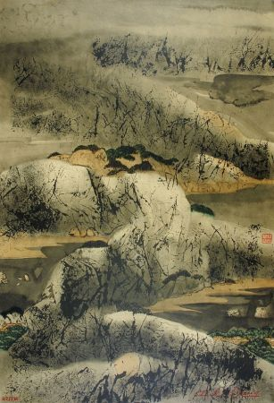 Lithograph Wang - Chinese mountain landscape