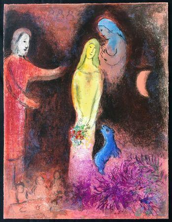 Lithograph Chagall - CHLOÉ VÊTUE ET COIFFÉE PAR CLÉARISTE (Daphnis & CHLOÉ - 1961)
