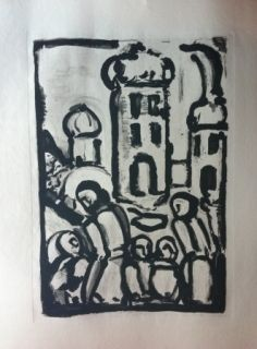 Etching And Aquatint Rouault - Christ among the poor