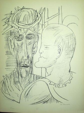 Lithograph Beckmann - Christ and Pilate