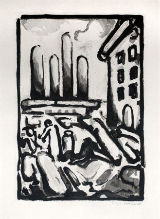 Etching And Aquatint Rouault - Christ au Faubourg (Christ in Faubourg) from Passion, 1935