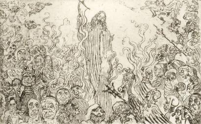 Engraving Ensor - Christ descendant aux enfers