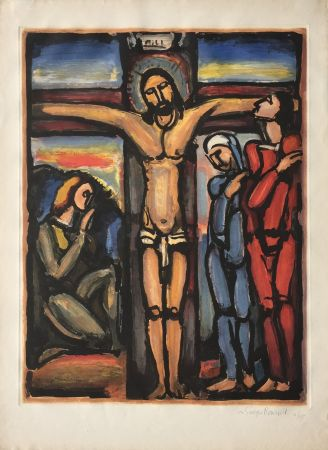Etching And Aquatint Rouault - Christ en Croix
