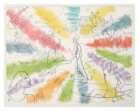 Lithograph Cocteau - Christ et pêcheurs