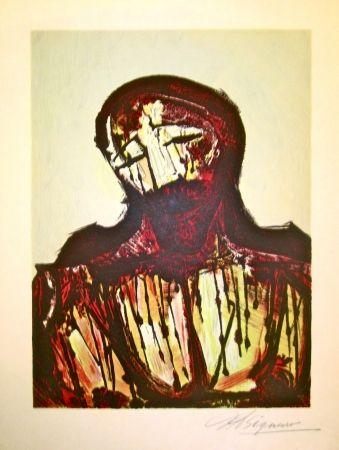 Lithograph Siqueiros - Christ Portrait