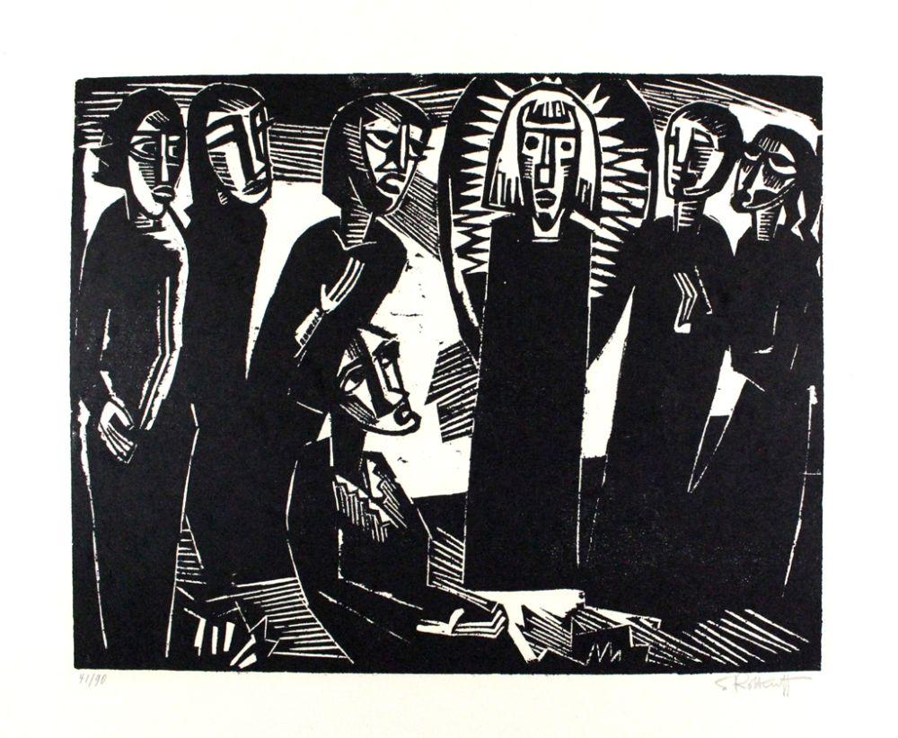 Woodcut Schmidt-Rottluff -  Christus unter den Frauen / Christ among the Women