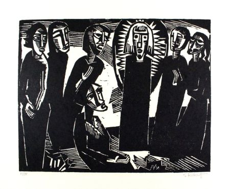 Woodcut Schmidt-Rottluff -  Christus unter den Frauen / Christ among the Women