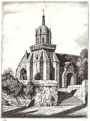 Etching Strang - Church of Perros-Guirec