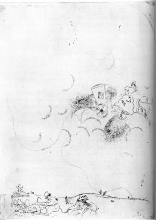 Engraving Chagall - Cicicov's Dream