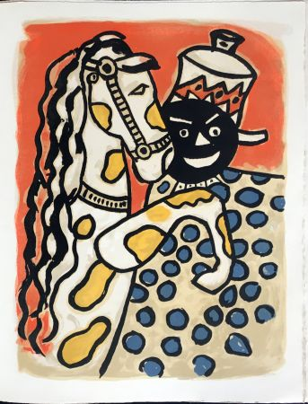 Lithograph Leger - Cirque : Clown et Cheval. 1950