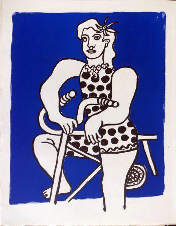 Lithograph Leger - Cirque : Cycliste sur fond bleu. 1950