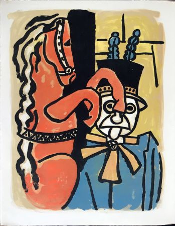 Lithograph Leger - Cirque : Dompteur et cheval. 1950