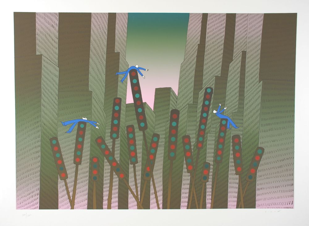 Screenprint Folon - City Lights - Les lumières de la ville