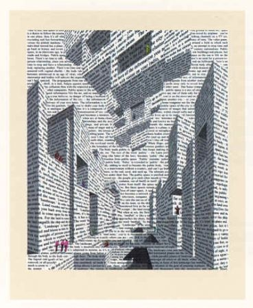 Lithograph Acconci - City of Words