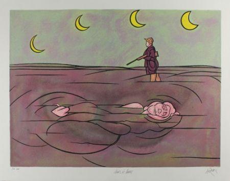 Lithograph Adami - Clair de lune