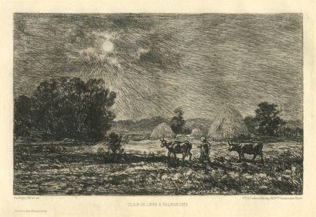 Etching Daubigny - Clair de lune à Valmondois