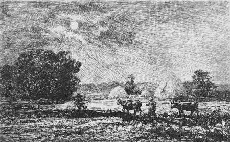 Engraving Daubigny - Clair de lune a Valmondois
