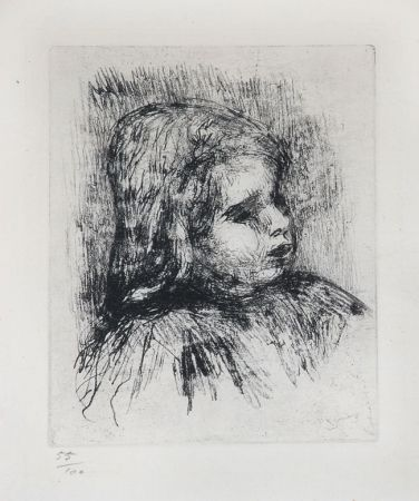 Etching Renoir - Claude Renoir, de Trois-Quarts à Droite (Claude Renoir, Three-Quarters to the Right), 1908