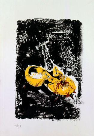 Lithograph Rebeyrolle - Cloué au sol