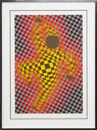 Screenprint Vasarely - Clown