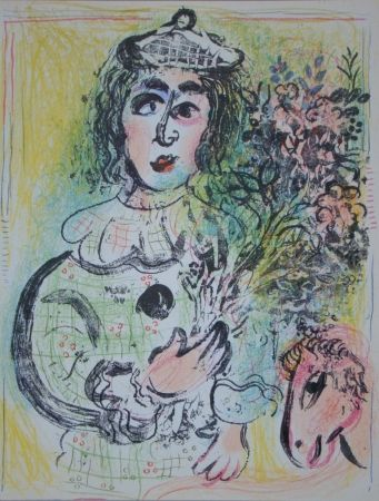 Lithograph Chagall - Clown avec des fleurs
