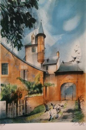 Lithograph Valadie - Collonges la Rouge - Limousin