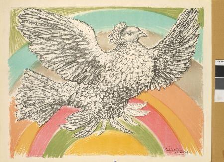 Lithograph Picasso - Colombe à l'arc-en-ciel
