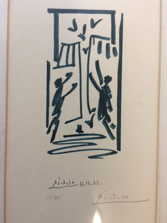 Lithograph Picasso - Colombes et prisonniers (pour les exiles espagnols)