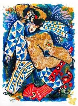 Lithograph Tobiasse - Colombine et Pantalone