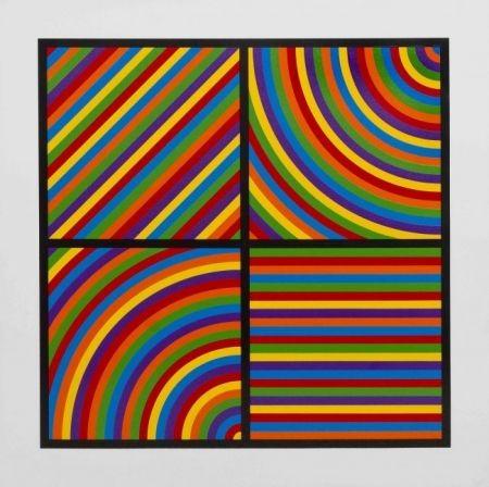 Linocut Lewitt - Color Bands #2