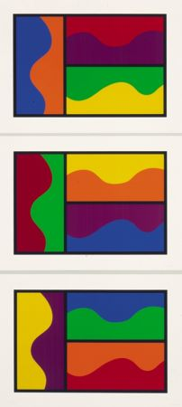 Screenprint Lewitt - Colors Divided By Wavy Lines