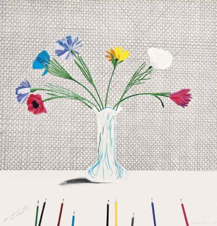 Lithograph Hockney - Coloured Flowers Made Of Paper And Ink