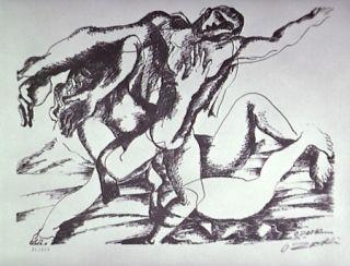 Lithograph Zadkine - Combat Avec L'amazone Hippolyte
