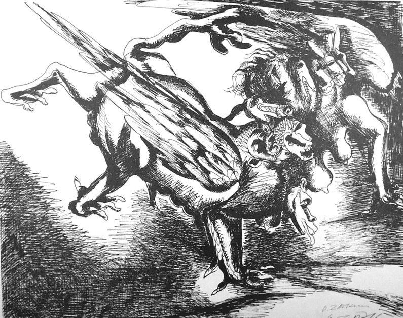 Lithograph Zadkine - Combat avec l'hydre de Lerne