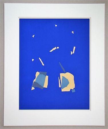 Lithograph De Stael - Comosition sur fond bleu