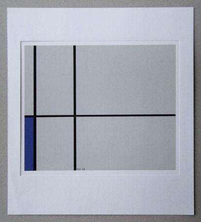 Screenprint Mondrian - Compositie met blauw - 1938