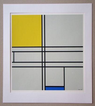 Screenprint Mondrian - Compositie met blauw en geel - 1935