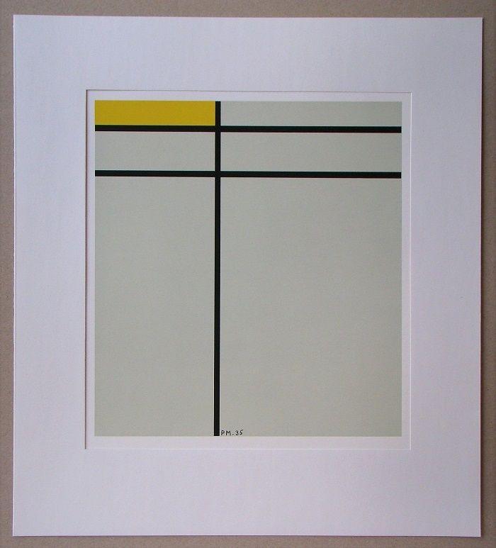 Screenprint Mondrian - Compositie met geel - 1935