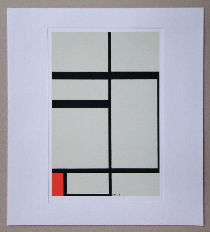Screenprint Mondrian - Compositie met rood - 1931