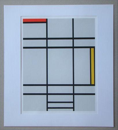 Screenprint Mondrian - Compositie met rood en geel - 1935