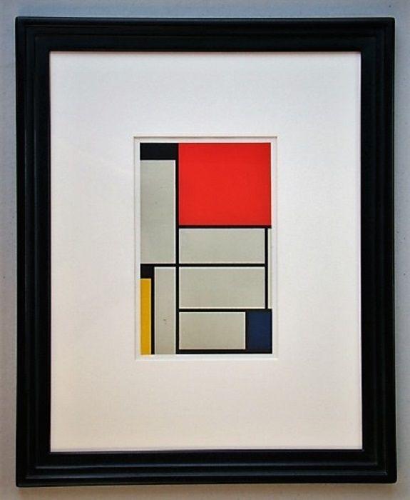 Lithograph Mondrian - Compositie met rood, geel, blauw, zwart en grijs