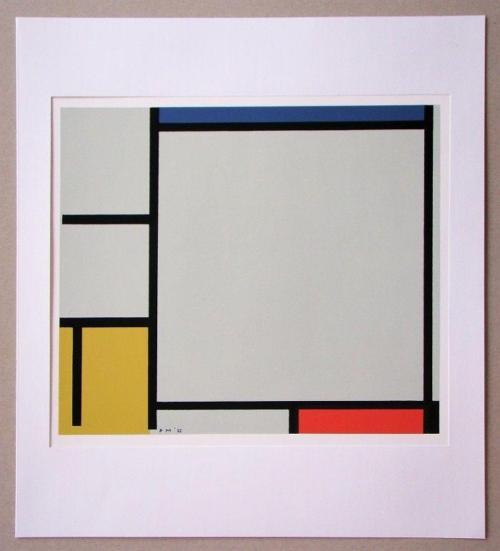 Screenprint Mondrian - Compositie met rood, geel en blauw - 1922