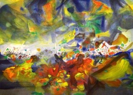 Lithograph Chu Teh Chun  - Composition 2