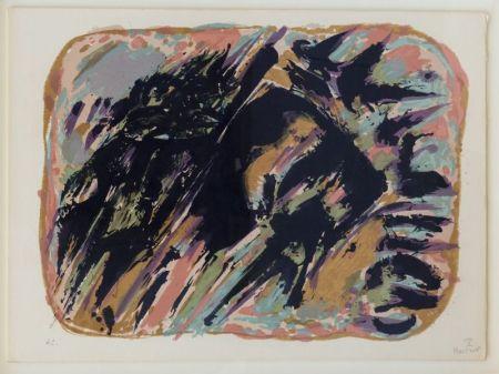 Lithograph Manessier - Composition abstraite